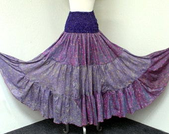 2 in 1 Full Circle, Artsy Silk Skirt Dress in Mix and Match Tone Boho, Hip Hop, Gypsie, Country, One Size. FREE SHIPPING