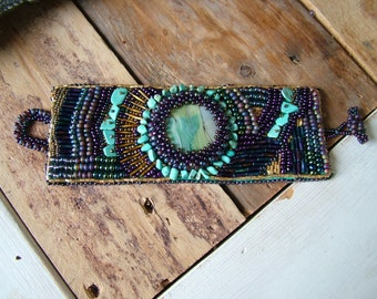 Cuff Bracelets Beaded Bracelets Violet/Gold/Turquoise MulticolorBeadwork Bracelets.