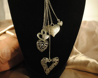 """Antique SIlver Heart charms on a string necklace - silver plate 18"""""""