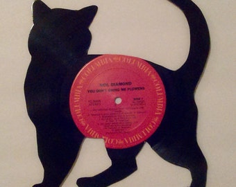 Vinyl record kitten (small cat) silhouette! One of a kind handcut wall art