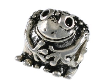 Adorable Smiling Frog Large Hole Sterling Silver Bead - Compatible with ALL Popular Bracelet Brands - Made in the USA! - Item #16981