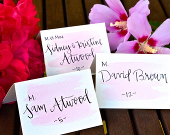 Wedding Place Cards: Watercolor with calligraphy