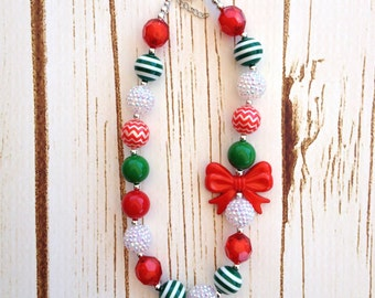 Christmas Girl's Chunky Necklace, Holiday Bubblegum Necklace, Red and Green Chunky Necklace