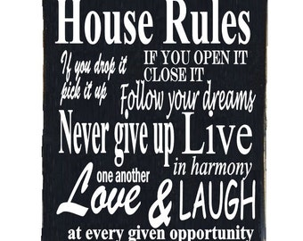 House Rules Shabby Chic Wood Wall Sign