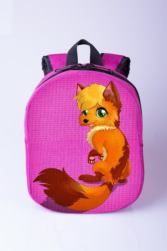 Red fox print backpack Girls backpack Pink backpack Toddler