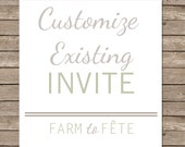 ADD ON: Customize Existing Invite