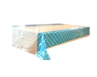 Blue Polka Dot Tablecloth