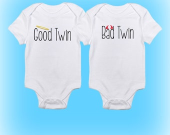 Twin Onesies®- Good Twin Bad Twin Onesies - Cute Twin Onesies - Gift for Twins - Baby Boys - Baby Girls - Baby Clothing - Baby Onesies-Twins