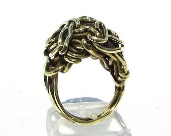 Avant Garde Jewelry, Brass Ring, Primitive Jewelry, Bohemian Rings, Metalwork Jewelry