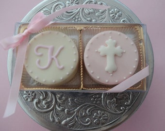 """Christening, Baptism, First Communion - 12 Fresh  """"Two Pack""""  - Chocolate Covered Oreos - 1 Dozen ; Christening Favors, Baptism Cookies"""