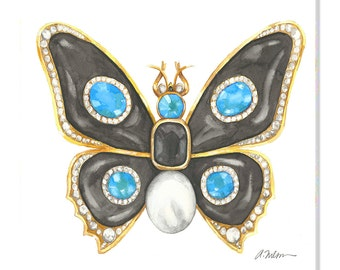 Butterfly Brooch Watercolor Rendering in Yellow Gold with Black Onyx, Blue Topaz, Diamonds and Pearl printed on Canvas