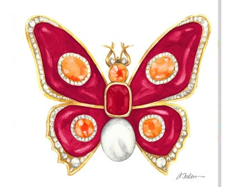 Butterfly Brooch Watercolor Rendering in Yellow Gold with Red Enamel, Ruby, Diamonds, Hessonite Garnet and Pearl printed on Canvas