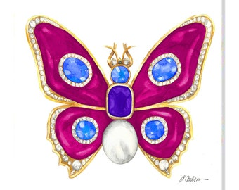 Butterfly Brooch Watercolor Rendering in Yellow Gold with Pink Enamel, Sapphires, Diamonds, Tanzanite and Pearl printed on Canvas