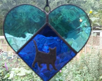 Stained Glass Blue Heart and Silhouette Cat Suncatcher