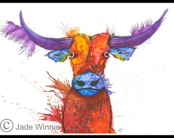 Mrs Cow- Ruby Red, Purple horns, Blue nose, Abstract Painting, Quirky Farm Animals