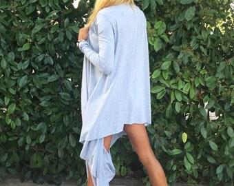 New Asymmetric Gray Sweatshirt, Loose Casual Tunic, Extravagant Long Sleeve Top,  Plus Size Tunic Top by SSDfashion