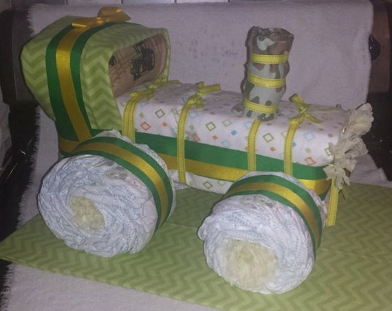 Tractor Diaper Cakes : Diaper cake tractor made to order baby shower birthday