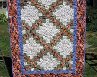 Floral Irish Chain Quilt, throw or crib size