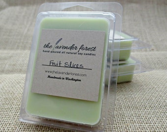 fruit slices // hand-poured soy wax melt tarts // natural soy wax // highly scented