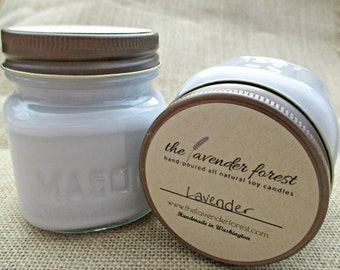 lavender // hand-poured 8oz mason jar soy candle // natural soy wax // highly scented // rustic