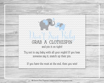 Elephant Baby Shower Don't Say Baby Game - Printable Baby Shower Don't Say Baby Game - Blue and Gray Elephant Baby Shower - SP102