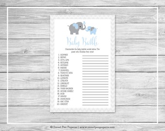 Elephant Baby Shower Baby Babble Game - Printable Baby Shower Baby Babble Game - Blue and Gray Elephant Baby Shower - Word Scramble - SP102