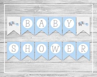 Elephant Baby Shower Banner - Printable Baby Shower Banner - Blue and Gray Elephant Baby Shower - Baby Shower Banner - EDITABLE - SP102