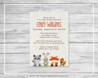 Woodland Animals Baby Shower Invitation - Printable Baby Shower Invitation - Woodland Animals Baby Shower - Baby Shower Invitations - SP105
