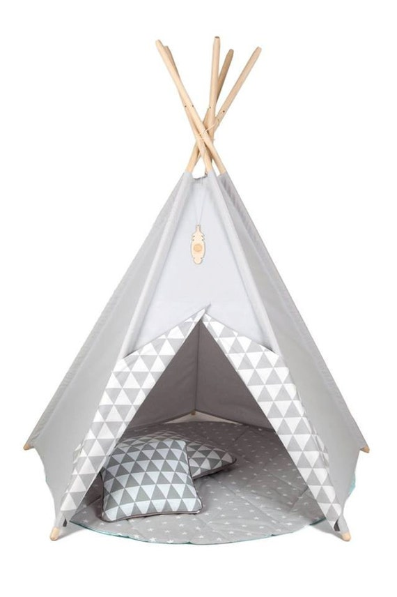 kinder tipi m dchens wigwam zelt grau kinder tipi spiel. Black Bedroom Furniture Sets. Home Design Ideas
