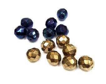 12 Pieces Machine Cut beads in Jet AB Aurum Gold, Vintage Czech, Faceted, 10x9mm