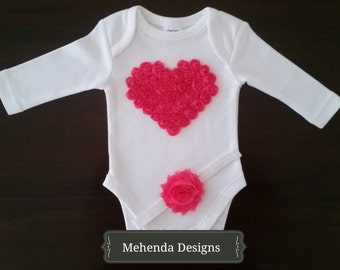 Baby girl long sleeve oneise.Baby girl short sleeve onesie. Embellished onesie & headband set.Short sleeve onesie.
