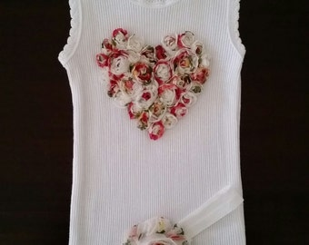 Baby girl vintage inspired singlet and headband set.Embellised singlet.Baby girl singlet. Sizes 0000,000,00,0,1,2