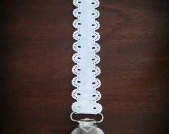 White dummy chain. Pacifier chain.Dummy clip.Pacifier clip