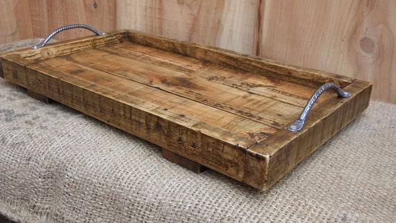 Large Rustic Serving Tray Wooden Tray Made From Reclaimed