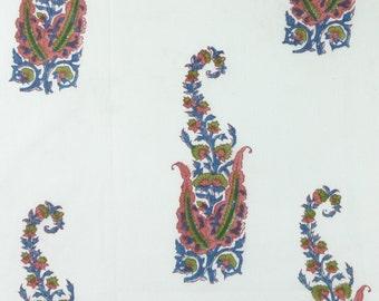 5 Yards Hand Block Printed Fabric: Blue, Green
