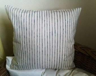 "SALE - Hand painted dark sage green stripe pillow cover 16"" x 16"""