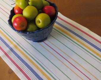 Mult-Color Stripe Cotton Toweling Table Runner