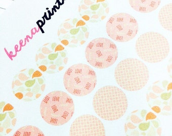A142   28 LOVE CIRCLES Stickers Perfect for Erin Condren Life Planner, Filofax, Plum Paper & other planner or scrapbooking