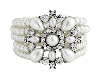 Ivory Pearl Bracelet, Multi-Strand Stretch Pearl Bracelet Bridal Bracelet Wedding Bracelet Pearl and Crystal Bracelet