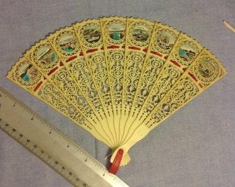 "Vintage celluloid fan 9 photos English countryside 7"" blades"
