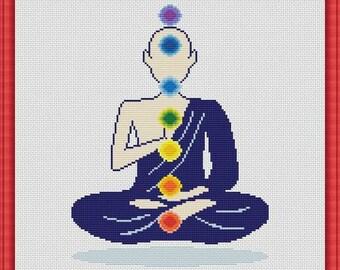Cross Stitch Pattern Silhouette Chakras man Yoga Rainbow Counted Cross Stitch Pattern / Instant Download Epattern PDF File