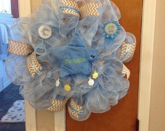 Baby Boy Wreath,  Deco Mesh Wreath, Baby's Room Wreath, New Baby Wreath, Nursery Wreath