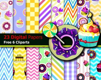 cupcake digital paper,candy digital paper,rainbow digital paper,cupcake patterns backgrounds,rainbow candy scrapbook papers instant download