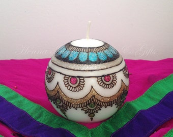 Henna Candle, Mehndi Candle, Decorative candle, Indian party favor, Round candle, Wedding Favor, Unscented Ball Candle, One of a Kind gift