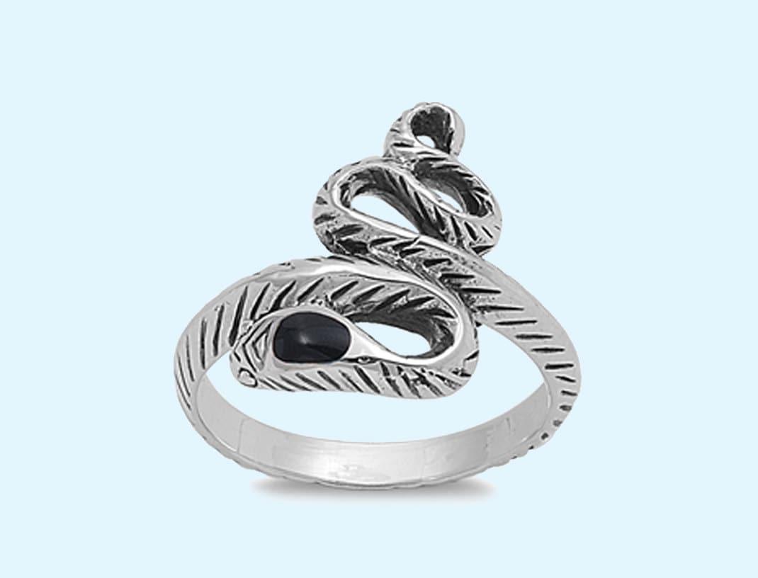 silver snake ring black onyx snake ring 925 by