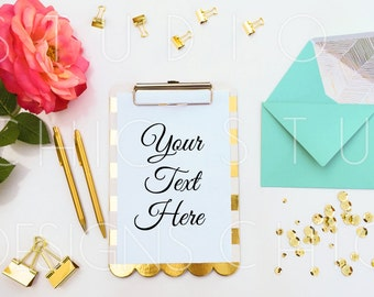 Styled Stock Photography- Styled Desktop with Clipboard- Gold, Pink, Teal Stationery Display - 022
