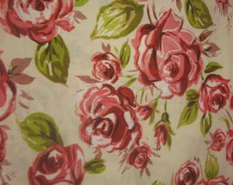Burgandy Rose and Cream Cotton Fabric 1 Yard