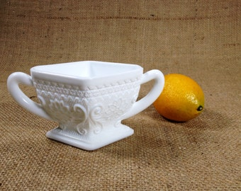 Vintage Art Deco Milk Glass Dish Vase Sugar Bowl, Milk Glass Collectible, Cottage Chic, Country French, Traditional,
