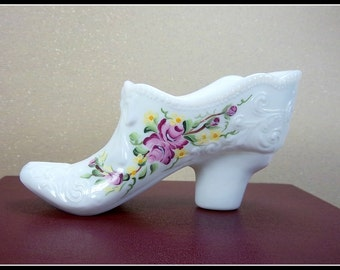Glass Slipper, Hand-Painted Roses, Opal Glass, Made in USA, Pink Roses, Painted on Both Sides