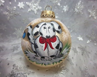 Doggy Ornament, Hand-Painted Dog, Black and White, Gold Ornament, Free Inscription, Dog Lovers